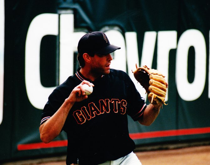 John Johnstone pitches a ball during his stint as a member of the San Francisco Giants ball club.