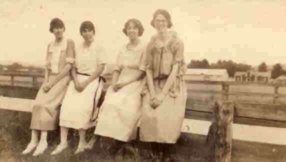 Unknown ladies at the old Warren County Fairgrounds racetrack in Warrensburgh in 1923, waiting for the horse racing to commence.