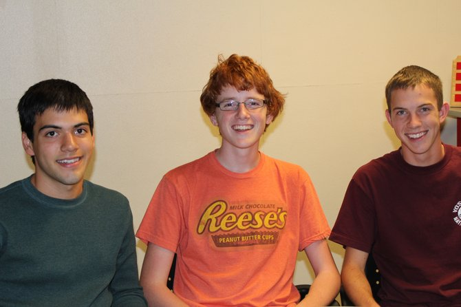 (From left) Antonio Martinez, David Magowan and Scott Wolff, seniors at Baker High School, have been named Commended Students in the 2013 National Merit Scholarship Program. 