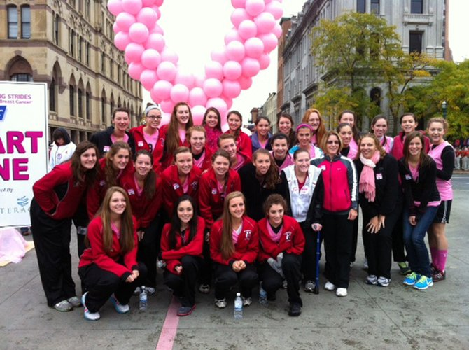 The Baldwinsville Central School District's girls' junior varsity and varsity volleyball teams kicked-off breast cancer awareness month by walking in the Making Strides Against Breast Cancer Walk on Sept. 30 in Clinton Square.