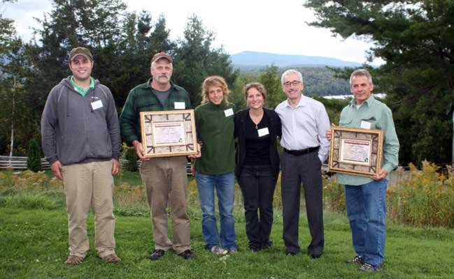 From left, the Post Family, L. Post Rustics; David Kahn, Executive Director, Adirondack Museum; Paul Lakata, Rustic Artworks