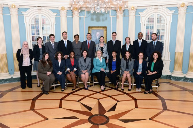 Ali Horton, back row second from left, joins Hillary Clinton and Fulbright scholars.