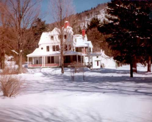 The former Bonnie Brae Villa, once a palatial summer home built in 1865 at the base of Dackinsack Mountain near Raymond Lane, Warrensburgh, was later renamed The Manor restaurant. This photograph was taken by Jean Hadden on Feb. 17, 1980, a mere 24 days later, the house was totally destroyed by arson fire.