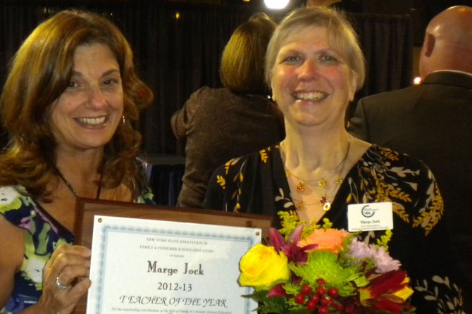 Margaret Jock, right, has been named the 2012 NYSAFCSE Teacher of the Year. With her is Baldwinsville Superintendent Jeanne Dangle.