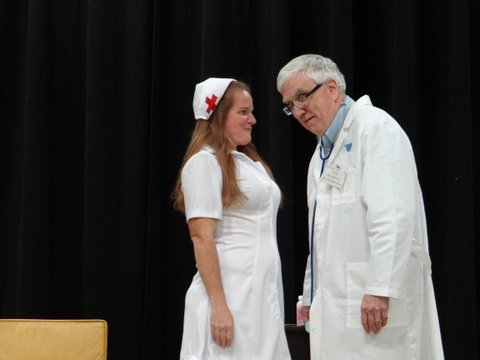 "Nurse McIntosh (Kate Hoy) is always there to help Willie Clark as the Doctor (John LaCasse) in the Baldwinsville Theatre Guild's upcoming production of ""The Sunshine Boys."""