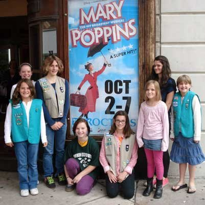"Southern Essex County Girl Scouts traveled to Schenectady to see ""Mary Poppins"" at Proctor's Theater.  Pictured are  MacKenzie Strum, Jordyn Borho, Adriana Borho, Jericca Harrington, Mykenzie Rich, Kirsten Strum, Becky Barber and Maria Cole."