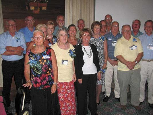 Attending the recent 50th Reunion of the Warrensburg High School Class of 1962 were (front, left to right):  Ruth Mundy Bruce, Linda Morehouse Henzler, Kathy Burry Lessing, Jerry Squires, Don Smith, (row 2):  Diane France Simpson, Barbara Burch Pataki, Joan Burdette Harris, Barbara Koch Noble, Charles Barton, Paul Goldsmith, (rear): Paul Langworthy, Richard France, Dan Freeburn, Don Hastings, Ed Chamberlain, and Jerry Steves. Not pictured): Karen Baker Sipowicz and Rusty McCallister.
