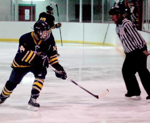 Eddie Kane is one of five seniors on the Lake Placid varsity hockey roster.