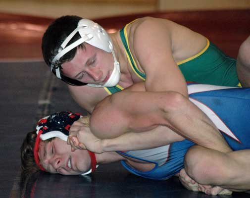 Justin Kellett of Northern Adirondack looks to improve his position against Matt LaMere of AuSable Valley.