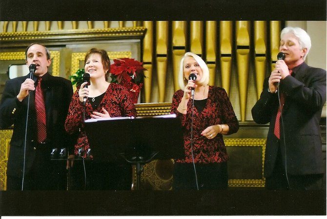 The Harvesters perform during a recent concert. The group is scheduled to perform at 7 p.m. this Saturday at the Hillview Community Church Coffeehouse; proceeds from the event, which is open to the community, will benefit area food pantries.