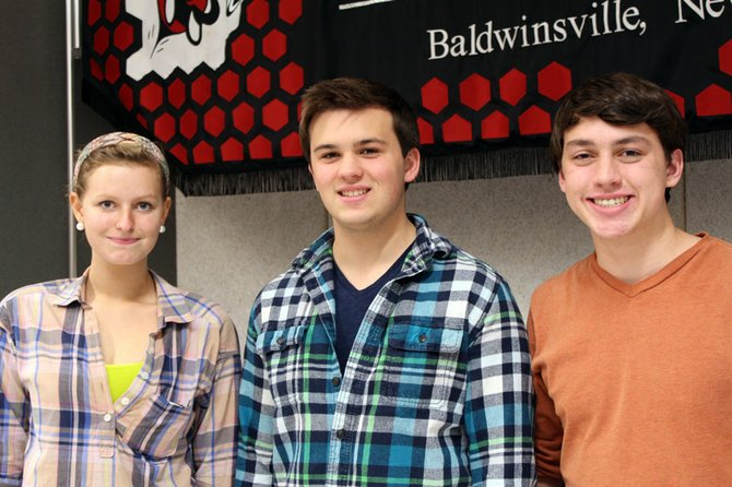 Students selected to perform in the senior high school area all-state band are (from left) Catherine Beamish, Connor Bogardus and Ian Lang.