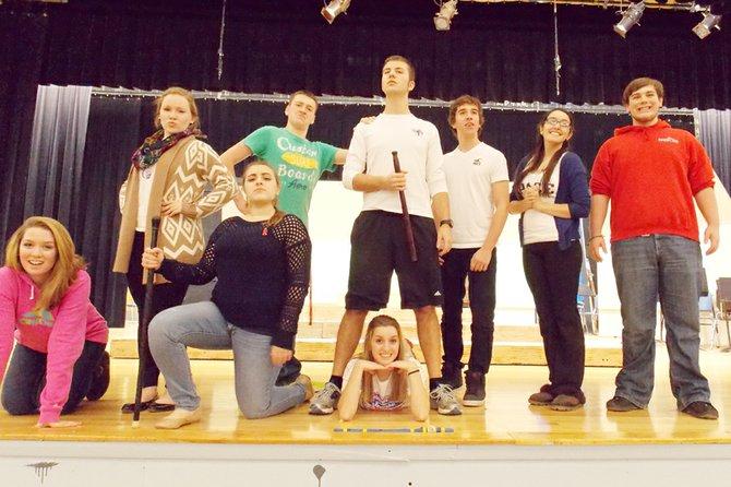 Rehearsing a scene from A Company of Wayward Saints are (from left) Katie Grabowski, Molly Makowiec, Joanna Damiano, Zach Colton, Matt Noll, Julianna Grabowski, Paul Herrmann, Amanda Funiciello and Brendan O'Toole.
