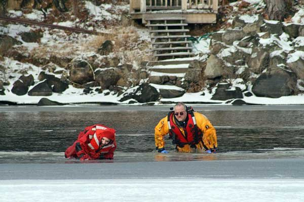 Above are Jazmin Piraino and Cliff Ross, members of the Long Lake Fire Department at the Water Rescue December 2011. They will be on site at the Long Lake Plunge.