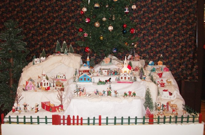 A vintage miniature Christmas village will be on display through January at the Museum at the Shacksboro Schoolhouse, 46 Canton St., Bville.