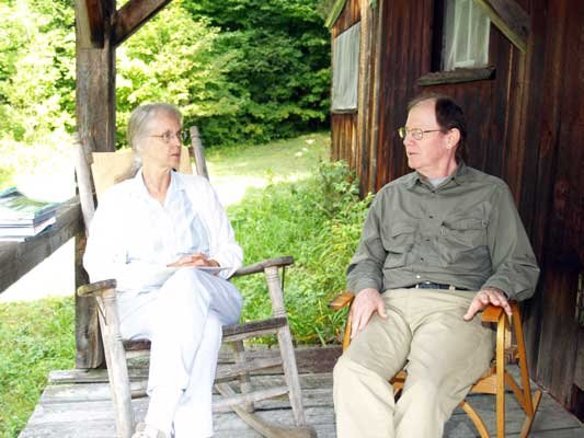 Here is the photo of Evelyn Greene interviewing Ed Zahniser at his Bakers Mills cabin on Aug. 15, 2012.