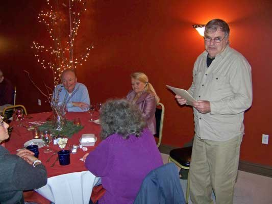 Warrensburgh Historical Society President Paul Gilchrist reviews the group's 2012 accomplishments and activities during at the Society's annual dinner held Dec. 7 at Lizzie Keays Restaurant.