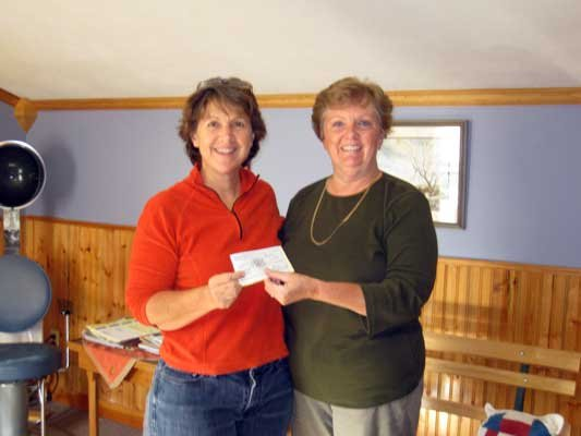 Beth Marvin, League Secretary presents check to Marilyn Jordan, Director of the Community Food Shelf.
