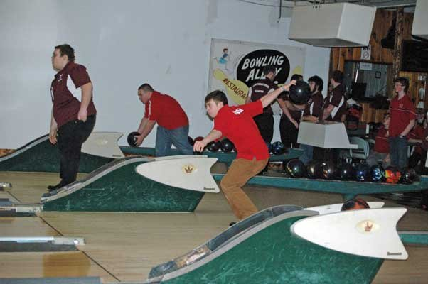 Tyler Bridge prepares to roll for the Willsboro bowling team.