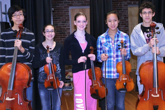 Durgee Jr. High students selected for the All-County Orchestra are (from left) Eugene Kim, Bryanna DiGregorio, Madeline Eberl,  Kaylee Lammers and Danny Viera.