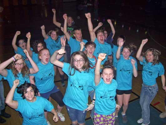 Participants in the 2012 Warrensburg Marathon Dance show their enthusiasm.