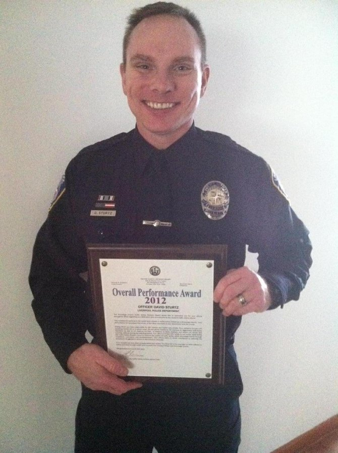 Liverpool Police Officer David Sturtz was recently awarded the Onondaga County Traffic Safety Advisory Board Overall Performance Award for 2012 his traffic enforcement efforts in the village.