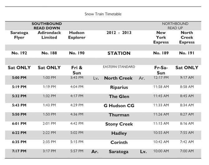 Snow Train Timetable