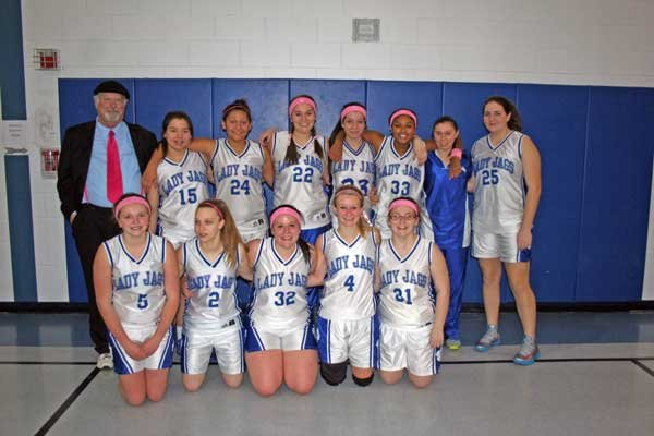JOHNSBURG GIRLS VARSITY: Back row, left to right: Coach Phil Goodman, Karlee Square, Kora Millington, Mikayla Glode, Anna Gahan, Astasia Myler, Brooke Denno and Liz Ordway. Front row: Lydia Knickerbocker, Morgan Amell, EmmaLee Ellsworth, Kayla Williford and Lindsey Russell.