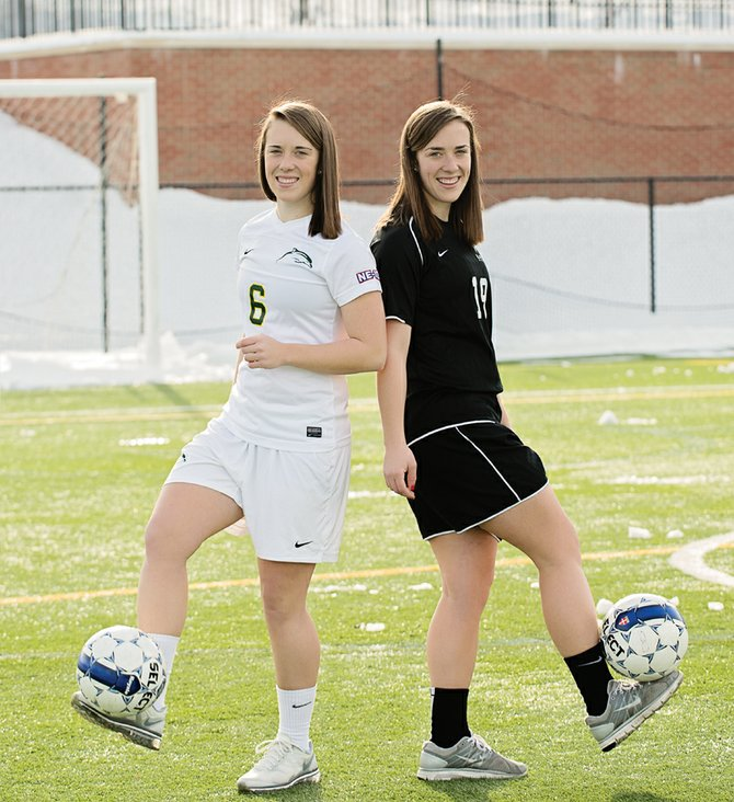 Claire and Maggie Monnat, of Baldwinsville, take it to the Le Moyne soccer field in leisure form. The Le Moyne freshmen are featured in the Syracuse Women Inspire section of the February 2013 edition of Syracuse Woman Magazine. 
