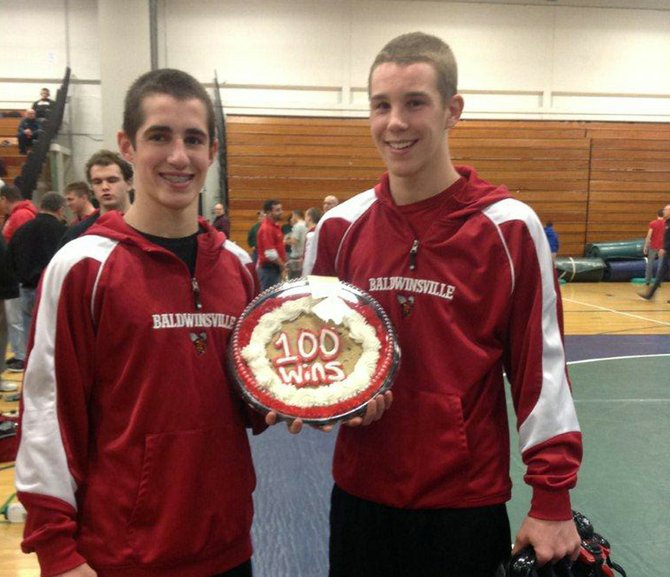 Congratulations to Baldwinsville varsity wrestlers Kevin Paul, left, and Chad McArdell.