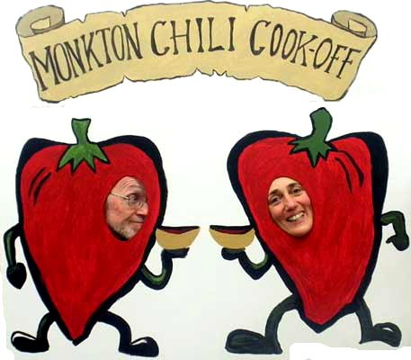 Cassandra Corcoran and Pete Sutherland do their part to help promote Monkton Community Coffeehouse Annual Chili Cook-Off, 6-7:30 p.m., Feb. 9.