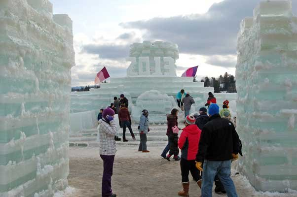 Visitors enjoy the Ice Palace in Saranac Lake on Sunday, Feb. 3.