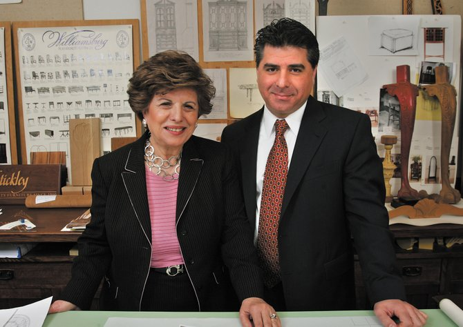 Edward and Aminy Audi working together in Stickley's design department.