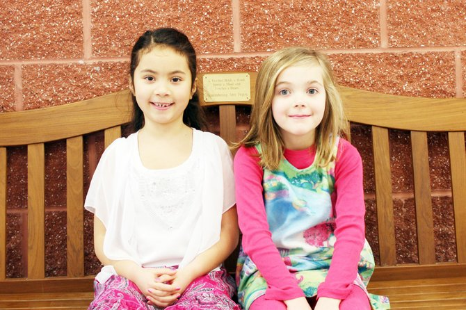 Isabella Nalli, left, and Sophia Randolph, students at McNamara Elementary School, will have their artwork on display in March at the Legislative Office Building in Albany.