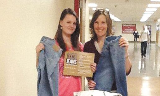 Baker High School's Key Club recently coordinated a school-wide jean drive and collected almost 100 pairs to donate to Aeropostale's Teens for Jeans campaign. Senior Faith Treasure, left, brought the idea for the school drive to the club and its advisor, Dana Rubadou, right.