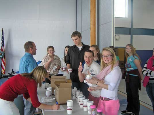 Honor roll students at the Johnsburg Central School were rewarded with ice cream Thursday, Feb. 14. Students from left are Lydia Knickerbocker, Anna Liebelt, Patrick Harrison, Colleen Fuller, Ethan Cooper, Kayla Williford and Shelby Allen.