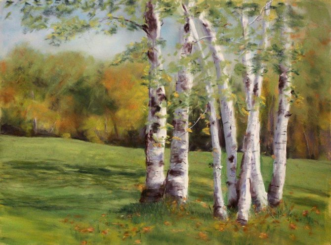 """Debbie Florentino-Dlugolecki's """"Friends,"""" a pastel drawing, is one of the works on display at the Liverpool Art Center."""