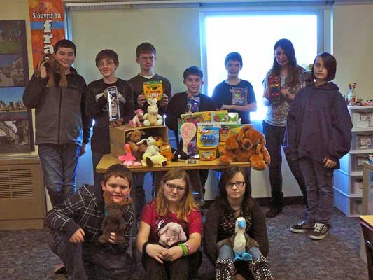 Ticonderoga Middle School sixth grade students collected toys and other items to donate to Superstorm Sandy victims as a community service project.