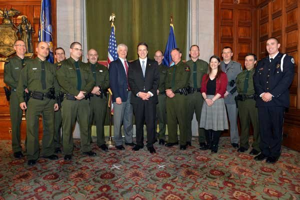 Gov. Andrew Cuomo held ceremonies recently to honor the Forest Rangers who participated in the Feb. 21 rescue efforts.