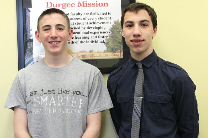 Nicholas Boulton (right), an eighth-grader, will represent Durgee Junior High School at the Bristol-Myers Squibb Science Horizons program at Syracuse University this summer. Zackary Boadway (left), also an eighth-grader, has been selected as Durgee's alternate, should Boulton be unable to attend the program.