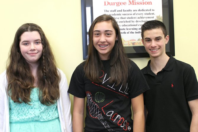 Zachary Roseberry (right) placed first, Emma Heaton (left) earned second place and Paige Smith placed third in the local portion of the 2012-13 Elks Americanism Essay Contest.