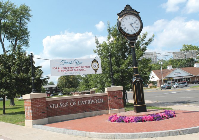 A Victorian-style clock was erected at Washington Park Point late last month in the village of Liverpool, the culmination of the Liverpool Clock Campaign headed by Jack Fisher. The clock will be dedicated in a ceremony to be held Sept. 18.