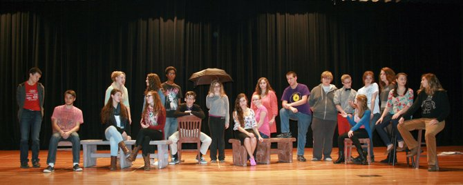 The Liverpool High School Casting Hall will present The Laramie Project at 7 p.m. Thursday, Nov. 14, and Friday, Nov. 15, in the LHS Auditorium. Pictured, in the first row from left, are LHS Annex freshman Julie Coggiola, senior Zach Berube and senior Samantha Spadafore. In the back row, from left, are sophomore Isaiah Louis-Jean, senior Keli Wolf, senior Christopher Metallo and sophomore Destin Furcinito.