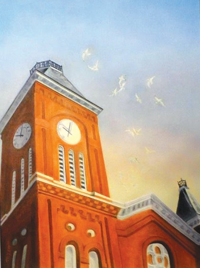 Liverpool artist Maureen Lemko favors local landmarks for her paintings, such as the Liverpool Presbyterian Church on Oswego Street.