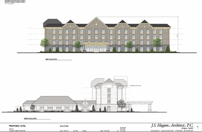 Pictured is the site plan proposal for the 82-room hotel and conference center proposed by Dan Kuper and Cazenovia Hospitality LLC to be build on Route 20 in the Village Edge South area.