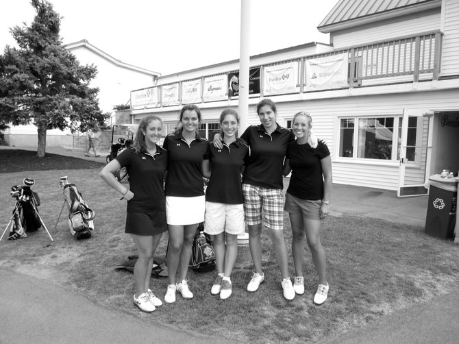 Christian Brothers Academy girls golfers (from left) Sarah Kitts, Elisabeth Webber, Kaleigh Sweeney and Emilee Oakes with professional Brittany Johnston after winning the Futures Pro-Junior Challenge at Drumlins Country Club on July 25. The Brothers shot a 29 and prevailed in a tie-breaker over Baldwinsville.
