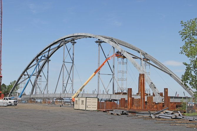 The arch of the new Champlain Bridge is being constructed in Port Henry and will be floated to the bridge site later this month.