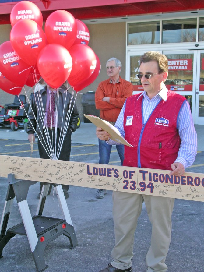 David Lilkas, Lowes Ticonderoga store manager, welcomed local dignitaries and visitors to the store during a grand opening ceremony in 2009.