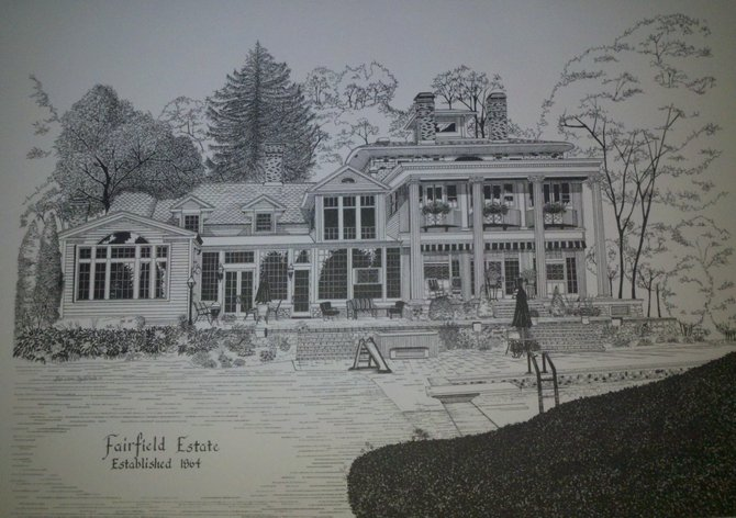 The former Fairfield Estate, seen in this sketch, will be host to this year's Silver Tea to benefit the Francis House Wednesday, Sept. 14.