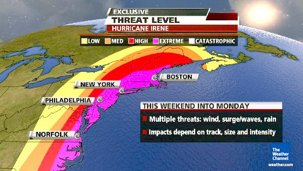 Projected path of Hurricane Irene.