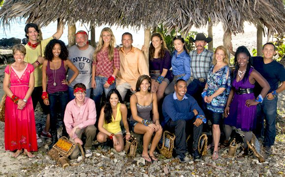 Sophie Clarke, seventh from left standing, of Willsboro, has made the final five contestants still remaining on the main island of the CBS reality show, 'Survivor.'